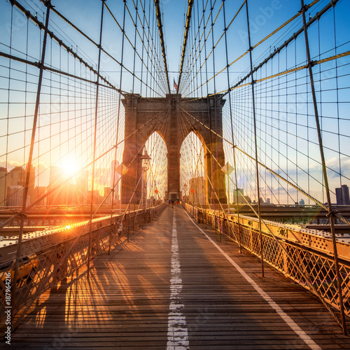 Brooklyn Bridge in New York City, USA - 187964216