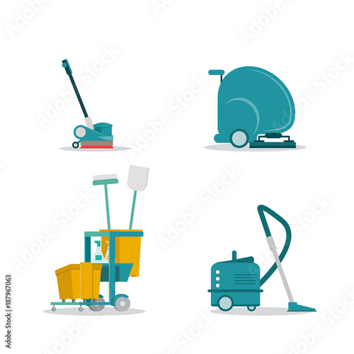 Professional cleaning service tolls equipment flat vector icons