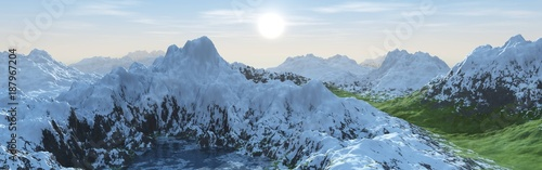 panorama of a mountain landscape with a lake and snowy peaks.
