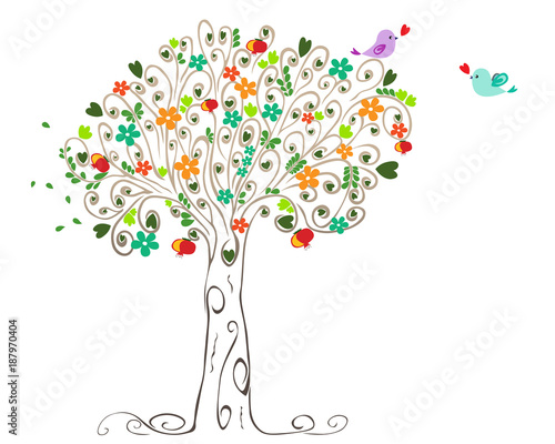 Colorful spring tree and birds in love - 187970404