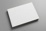 Empty white book on gray background - 187971693