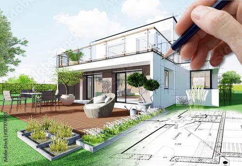 Foto op Aluminium Kasteel Esquisse de maison d'architecte