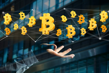 Bitcoin sign flying around a network connection - 3d render