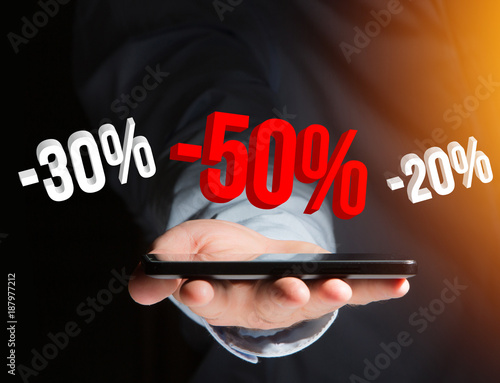 Sales promotion 20% 30% and 50% flying over an interface - Shopping concept