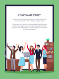 Happy People in Office on Vector Illustration - 187978070