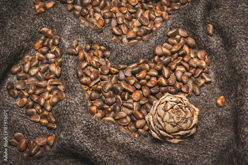 Pine nuts with a lump on shawls