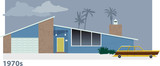 Exterior of 1970s modern suburban home with a station wagon in front of it, EPS 8 vector illustration - 187982889