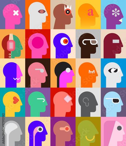 Fotobehang Abstractie Art Human Heads vector illustration