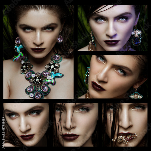 Foto Murales Collage Beautiful woman wearing exotic jewelry