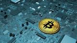 Bitcoin, criptovaluta, moneta elettronica, moneta virtuale, transizioni. Scheda computer, circuito stampato, scheda grafica