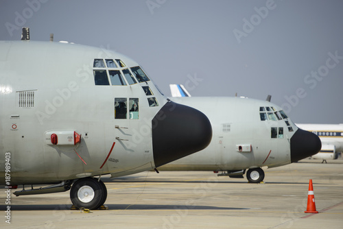 Fototapeta Front view of military transport aircraft