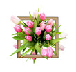 Pink tulip flowers bouquet and a frame - 187994496