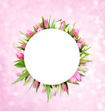 Pink tulips in round frame with white circle for text - 187994497