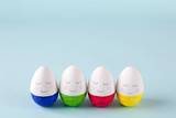 funny, colorful, cute and kind Easter eggs - hand-painted. Background for Easter greetings, concept - 187995239