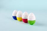 funny, colorful, cute and kind Easter eggs - hand-painted. Background for Easter greetings, concept - 187995298