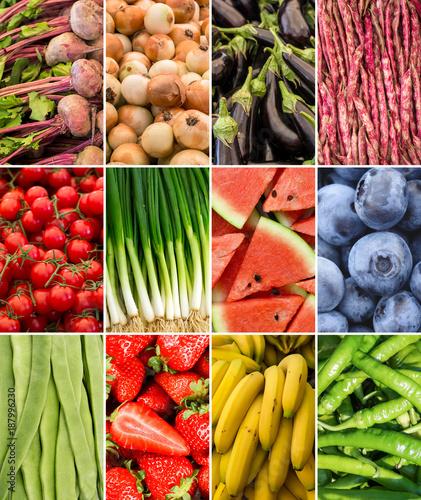 Foto Murales Meyve ve Sebze Kolajı