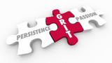 Grit Persistence Passion Puzzle Pieces 3d Illustration - 187999406