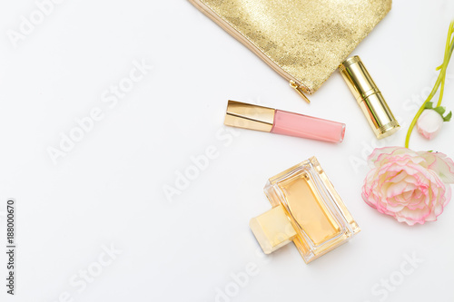 Beauty make up on white background. Copy space - 188000670