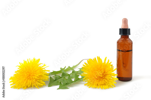 dandelion flowers and bottle with essence - 188002297