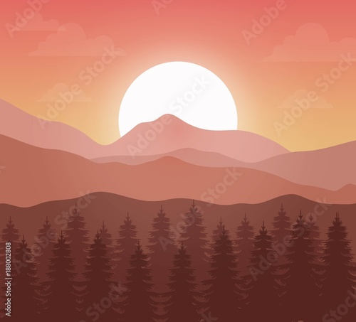 Tuinposter Zalm mountain landscape with forest design