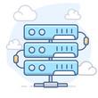 Server and Clouds. Vector line illustration