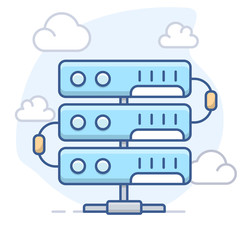Server and Clouds. Vector line illustration