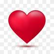 Soft red heart with transparent background. Vector illustration