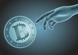 Human hand pointing to bitcoin - 188015424