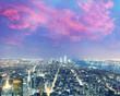 Amazing night aerial skyline of Manhattan, New York City - USA
