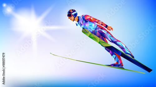 la-colorida-figura-poligonal-de-un-joven-saltando-sobre-un-fondo-blanco-y-azul-ilustracion-vectorial-fondo-azul-en-un-triangulo-geometrico-de-estilo-xxiii-juegos-de-invierno