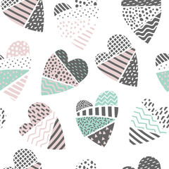 Abstract Memphis Style Seamless Pattern with Hearts. Happy Valentines Day Background for Fabric Textile Warpping Paper. Vector illustration