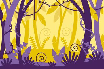 jungle background. tropical. cartoon. vector illustration