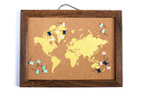 Cork board map with flag pins