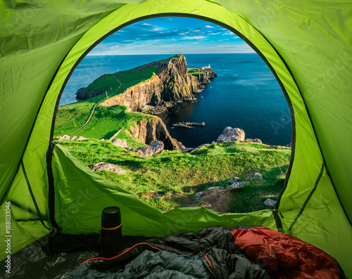 Camp at Neist point lighthouse in Isle of Skye, Scotland Poster