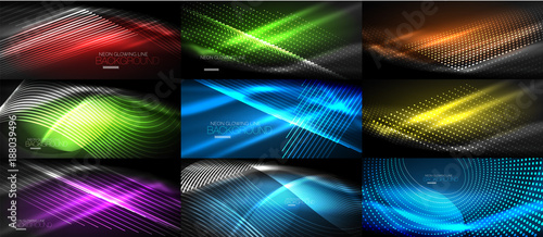 Set of neon smooth wave digital abstract backgrounds - 188039496