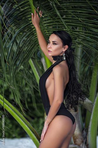 Beautiful woman in a sexy bikini on the beach