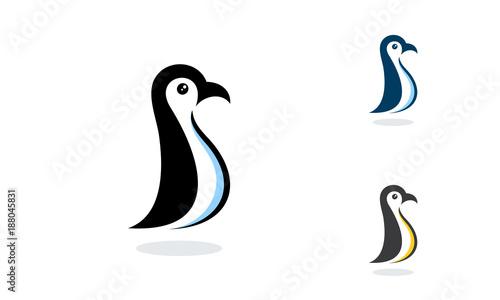 simple Standing Penguin logo designs vector template