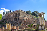 Temple of Castor and Pollux  and Palantine hill. The Ruins of Roman Forum, Rome. Italy.