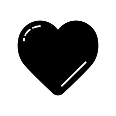 Black Heart on white vector icon. Love symbol. Valentine day concept