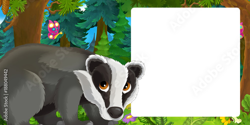 Plexiglas Zoo Cartoon scene with happy badger standing in the forest - with space for text - illustration for children