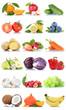 Obst und Gemüse Früchte Apfel Orange Zitrone Beeren Karotten Bananen Freisteller freigestellt isoliert - 188054871