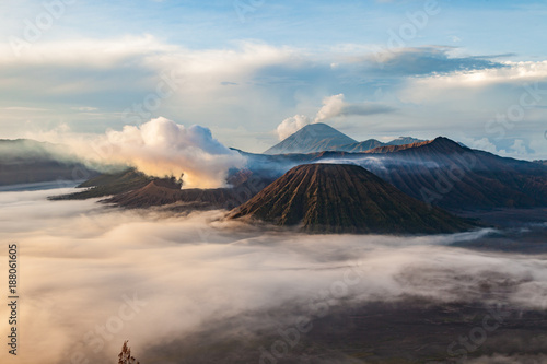 Aluminium Blauwe hemel Mount Bromo volcano (Gunung Bromo) and Batok at morning from viewpoint on Mount Penanjakan in Bromo Tengger Semeru National Park, East Java, Indonesia.