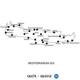 Island of Crete in Greece map on white background - 188062800
