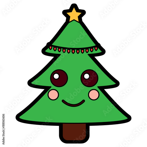 christmas tree kawaii cartoon smiling - 188063606