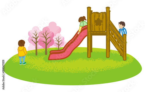Children playing on a slide in spring nature -Clip art - 188067819