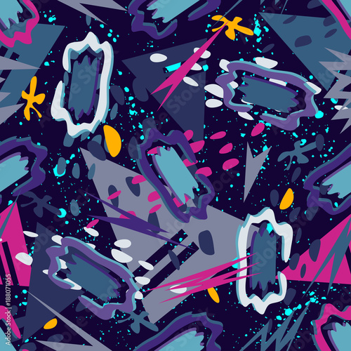 Materiał do szycia Abstract seamless vector pattern for girls, boys, clothes. Creative background with dots, geometric figures Funny wallpaper for textile and fabric. Fashion style. Colorful bright