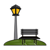 Chair and street light icon vector illustration graphic design