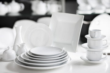 Hotel restaurant white dishes assortment. Stylish crockery set. Luxury and sophistication concept