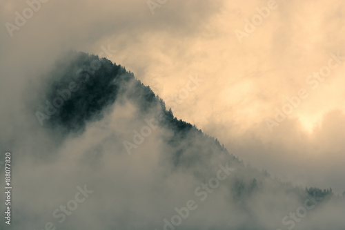 Slant skyline of forest on mountain slope overlapped with heavy orange lit clouds - 188077820