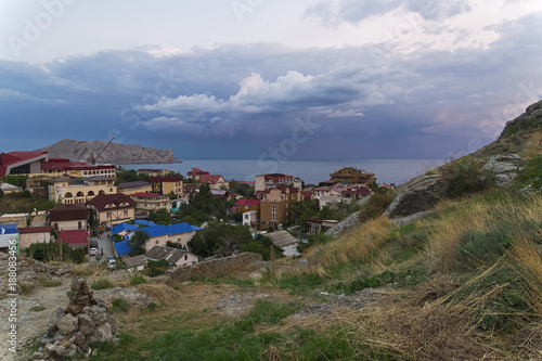Papiers peints Automne Cloudy evening in the resort town in the Crimea